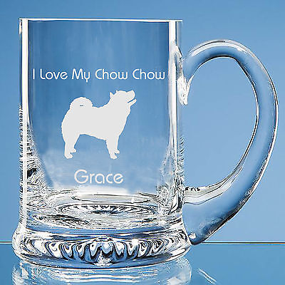 Chow Chow Dog Lover Gift Personalised Engraved Handmade Glass Tankard - Birthday