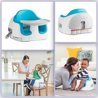 Baby Bumbo Seat with Tray New Portable Blue Safety Soft Floor Play Feeding Chair