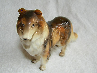 Vintage Porcelain Tri-Color Collie Dog Figurine With Glossy Finish Made in Japan