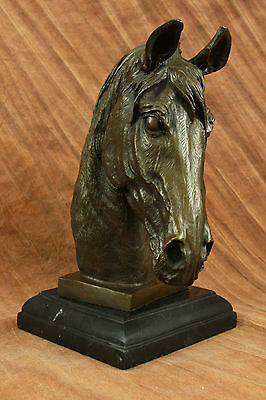 Solid Bronze Canova Horse Head Sculpture Bust Marble Base Art Deco Figurine DB