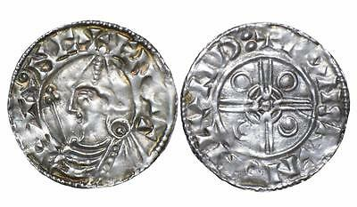 Cnut Anglo Saxon pointed-helmet silver penny.