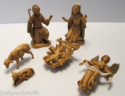 Fontanini Set of 6 Pieces Holy Family Nativity ~ Angel and Sheep ~ Depose Italy