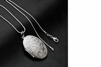Women's 925 Sterling Silver Vintage Photo Locket Pendant Necklace Jewellery UK
