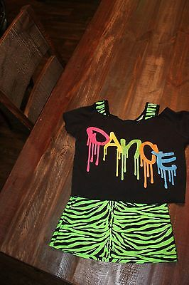Lime green & Black Zebra tank with Black Dance over shirt. small/medium