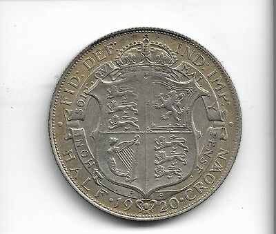 1920 half crown coin .500 silver king george v