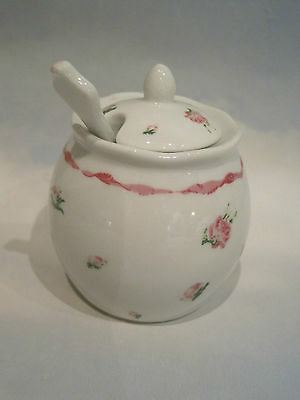 Ceramic rose pattern  mustard pot and spoon or small honey pot