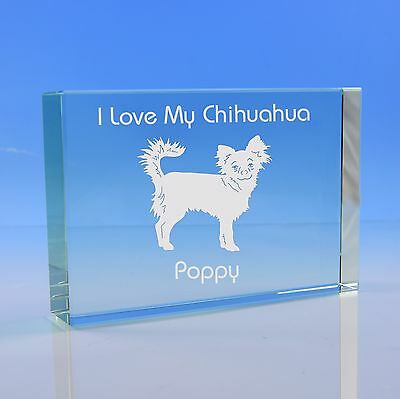 Long Haired Chihuahua Dog Lover Gift Personalised Engraved Glass Paperweight