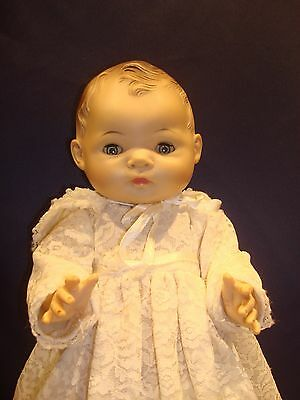 """1958 American Character Baby Doll 15.5"""" White Lace Dress Bonnet Nice Condition"""