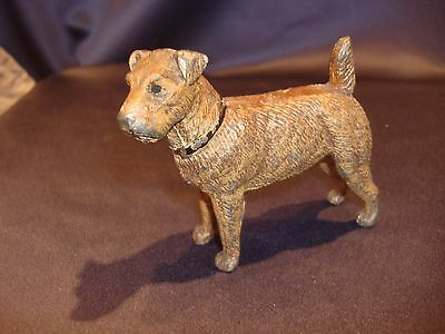C1930-40 Painted Cast Metal Fox Terrier Dog Figurine Made in Germany