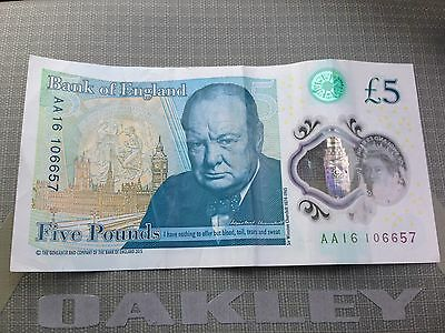 New Five 5 Pound £ AA16106657 Bank note