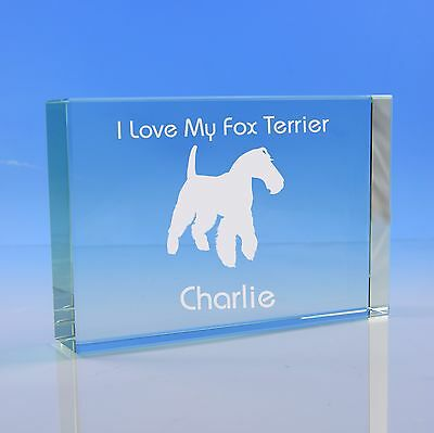 Fox Terrier Dog Lover Gift Personalised Engraved Quality Glass Paperweight