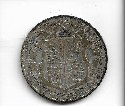 1925 half crown coin .500 silver king george v