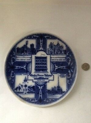 Advertising Plate, Rhodes Furniture Co, Tampa, FL, Blue Transfer, Churches