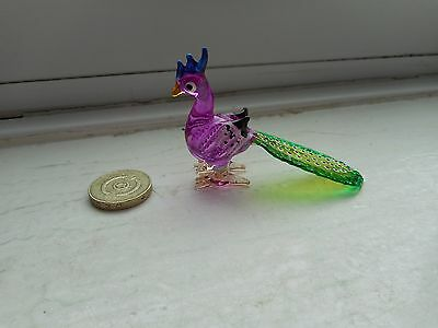 Peacock - Glass - Cute And Collectable  Miniature Colourful Peacock -Bright Pink
