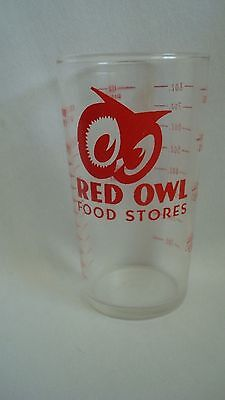 Red Owl Grocery Store Vintage 8  Oz. Measuring Red Embossed Glass Cup.