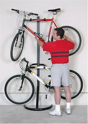 Two Bike Gravity Storage Stand Freestanding Bicycle Rack Garage Apt Hold Indoor