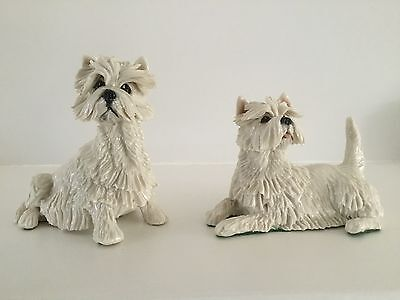 2 Fine Collectible Antique Vintage Hand Made West Highland Terrier Dogs Figurine