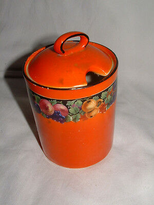 Vintage Orange Lidded Jam Pot with Fruit Pattern