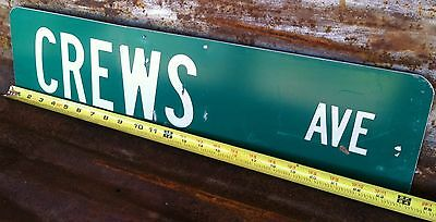 """6""""x24"""" Authentic """"CREWS AVE"""" STREET TRAFFIC HIGHWAY ROAD ROUTE INTERSTATE SIGN"""