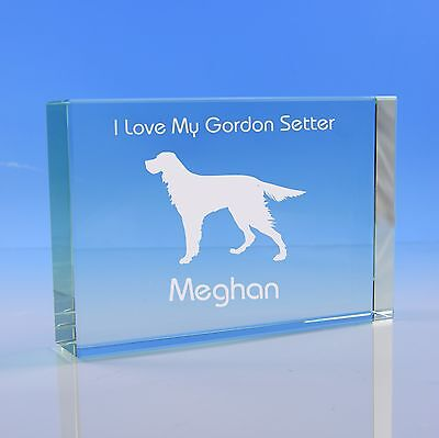 Gordon Setter Dog Lover Gift Personalised Engraved Quality Glass Paperweight