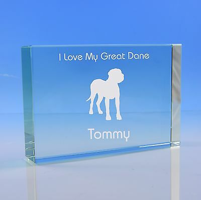 Great Dane Dog Lover Gift Personalised Engraved Quality Glass Paperweight