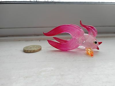 Fish  - Glass- Colourful Exotic Pink  Fancy Goldfish Type   Fish Miniature