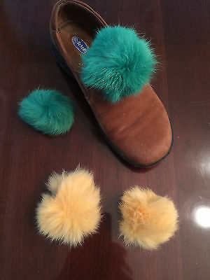 Two Pair of Clip on Shoe Accessories Fur Pom Pom - Green & Gold
