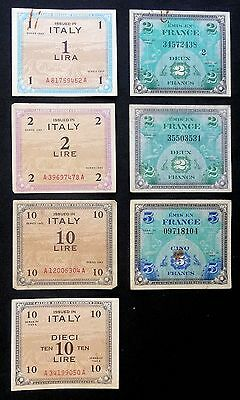 France & Italy Allied Military Banknotes - Good Collectable Condition