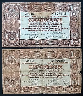 Netherlands 1 Gulden Silverbond x 2 Banknotes -  Issued 1938 - Pick# 61 - Good