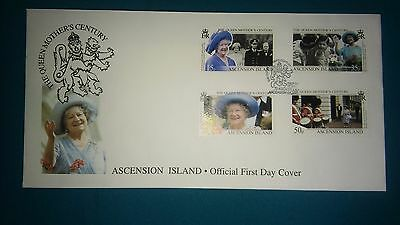 The Queen Mothers Century Ascension Island Official first day cover