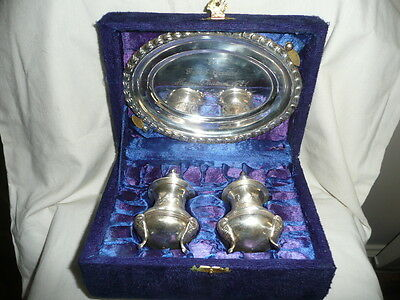 Vintage E.P.N.S. Silver Plated Engraved Salt & Pepper with Tray in Original Box