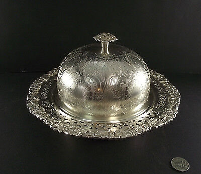 Large Antique Sheffield Reproduction  Silver Plate Butter Dish With Liner