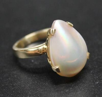14k Yellow Gold Ring Large Tear Drop Mabe Cultured Pearl Size 7.5