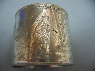 Antique Silverplate Napkin Ring w/ Feet ~ Asian Relief, Chinese Men