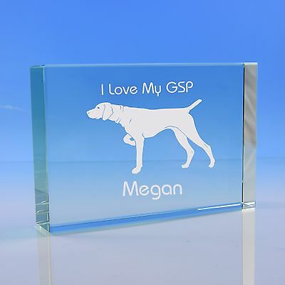 German Shorthaired Pointer Dog Gift Personalised Engraved Glass Paperweight