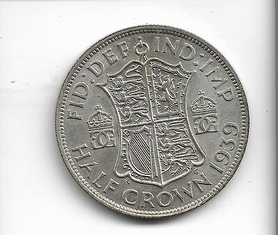 1939 half crown coin .500 silver king george v