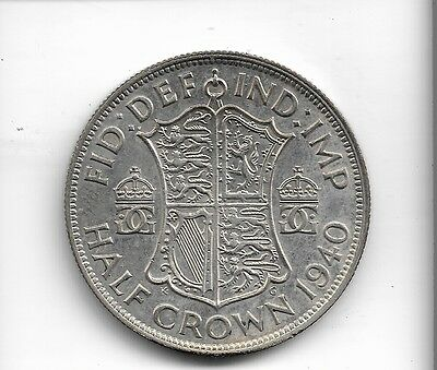 1940 half crown coin .500 silver king george v