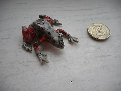 Frog - Beautiful - Colourful Miniature Pottery Pink, Grey,black Tropical  Frog