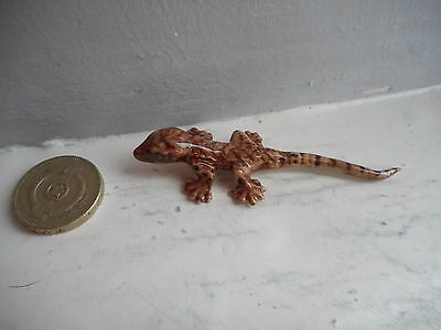 Gecko - Pottery/ceramic-  Collectable  Miniature Fawn And Brown Gecko Lizard
