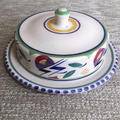 Early Poole Pottery, Red Clay Cheese Dish  Hand painted by Ruth Gough, Art Deco