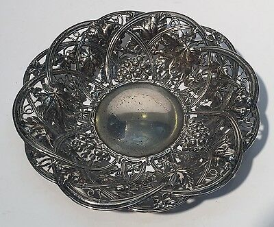 "Antique Sterling Silver Whiting Repousse Reticulated Grapes Bowl 5.75"" 5 & 3/4"