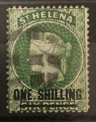 St Helena 1864-1880 SG30 one shilling 1/ green type B P14 used fine