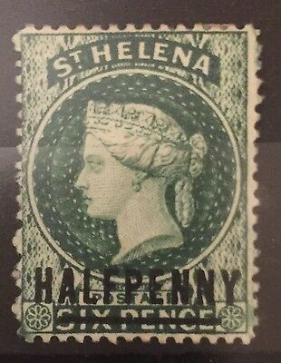 St Helena 1884-1894 SG35 0.5d on 6d words 17mm green wmk crown P14 MH