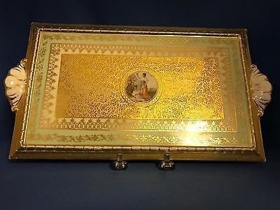 Vintage LE MIEUX CHINA Victoria Czechoslovakia 24kt Gold Vanity Dresser Tray