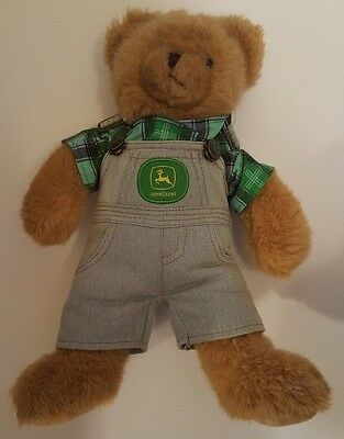 """John Deere Teddy Bear in overalls with logos 14-1/2"""" tall Bear Works"""