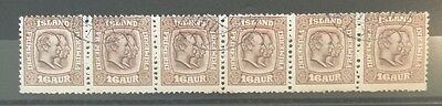 1907 Iceland SG88 double kings 16a brown strip of six used