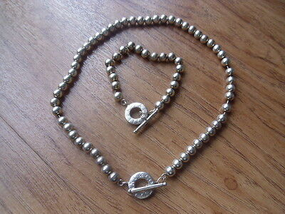 Tiffany & Co Hallmarked 925 Silver Bead Necklace & Bracelet Set With Polo Clasps