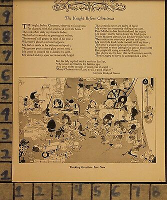 1921 Gustaf Tenggren Christmas Poem Workshop Santa Elf Toy Art Print Ad  Zh30