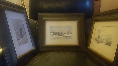 Lot of #3 Original water color on canvas by WILBUR MEESE Indiana artist