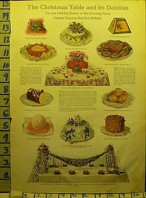 1911 Decoration Table Food Decor Christmas Santa Holiday Vintage Ad  Ae82